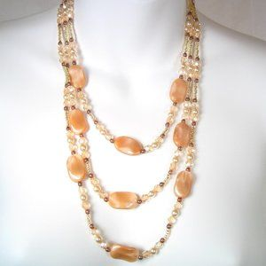 Three strand Necklace Caramels with Pearl Crystal